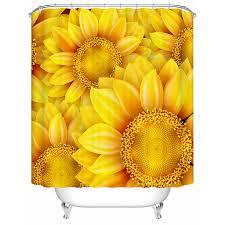 Sunflower Yellow Curtains Yellow Sunflower Polyester Beautiful Shower Curtains