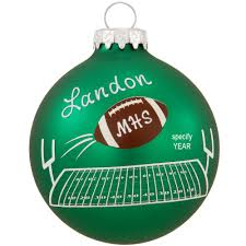 personalized football over field glass ornament penned