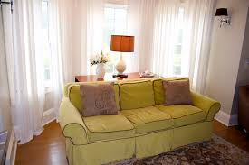perfect living room filled with pleasant lime green sofa in front