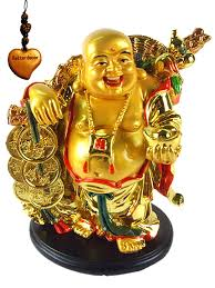 amazon com feng shui golden laughing happy buddha holding ingot