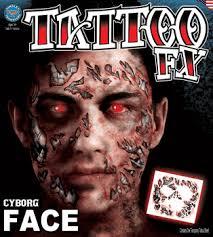 tat59 temporary tattoos full face tattoos cyborg face