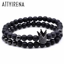black bead bracelet with charm images Attyirena crown charm bracelet 2pcs 1set 6mm black round natural jpg
