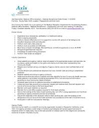 Receptionist Resume Sample by Receptionist Job Description Resume Template Design