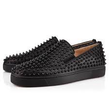 roller boat calf spikes black calfskin men shoes christian