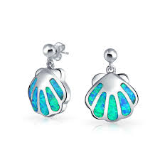best earrings blue opal gemstone nautical clam shell dangle earrings 925 silver