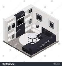 room isometric design furniture home interior stock vector