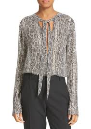 snake print blouse theory theory kimry snake print tie front blouse casual shirts