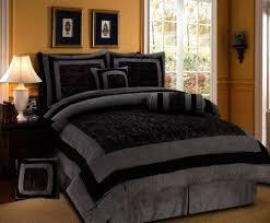 7 piece black grey comforter set micro suede patchwork bed in a bag