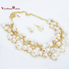 aliexpress pearl necklace images Latest elegant jewelry set designers choker pearl necklace sets jpg