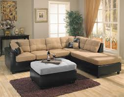 Modern Sectional Sofas Microfiber Living Room Dark Black With Cream Microfiber Sectional Couch For