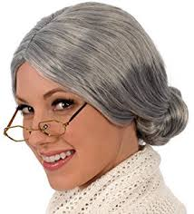 amazon com old woman wig unisex choose style gray or gray