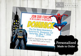 Spiderman Invitation Cards Batman Spiderman Birthday Invitations Spiderman Invitations