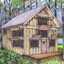 16x24 post and pier cabin timber frame hq plans joints tools and more
