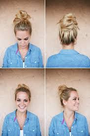 easy messy buns for shoulder length hair cute easy messy buns for long medium hair celebrity hairstyle 2018