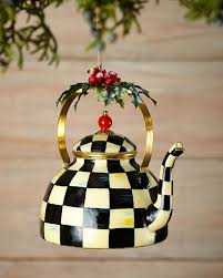 mackenzie childs courtly check tea kettle ornament