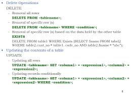 Delete All Rows From Table 1 Structured Query Language Sql 2 Contents Sql U2013 I Sql U2013 Ii Sql