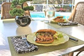 Lake Lure Cottage Kitchen - grilled flank steak sandwich with sweet onion marmalade and pear