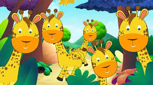 five little giraffes jumping on the bed popular nurseryrhymes