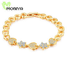 bracelet gold love images Moniya women girls cubic zirconia crystal bracelet gold color love jpg