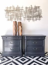 How To Repaint A Nightstand Grey Painted Nightstands Thirty Eighth Street