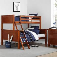 Wood Frame Bunk Beds Your Zone Wood Bunk Bed Walnut Walmart