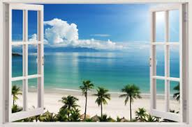 3d window decal wall sticker home decor exotic beach view art