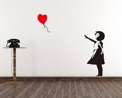 banksy wall decal etsy banksy wall decal girl with balloon heart vinyl