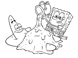playing music patrick and spongebob coloring pages free cartoon
