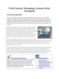 civil concrete technology lectures notes download concrete
