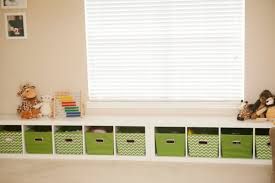 Playroom Storage Furniture by Playroom Storage Bench With White Toy Storage Units And Green
