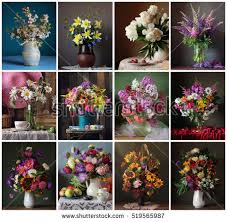 Flowers For Each Month - collage still lifes bouquets flower background stock photo