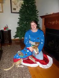 matching dog owner christmas sweaters take ugly to a new level