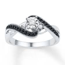 diamond promise ring 1 4 ct tw black white sterling silver