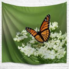 butterfly floral wall hanging home decor tapestry green w inch l