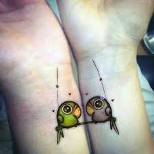 parrots couple tattoos couple and matching couples