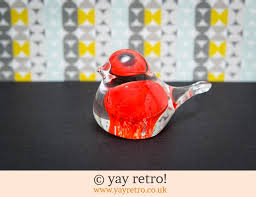 glass bird robin paperweight ornament vintage shop retro