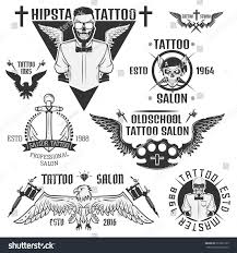 set tattooist skeleton masterssailor hipster tattoo stock vector