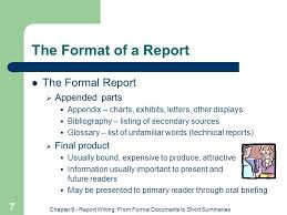 chapter 9 report writing from formal documents to short