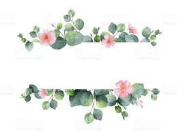 watercolor hand painted green floral banner with eucalyptus and