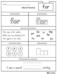 free kindergarten reading worksheets understanding the names of
