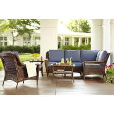 hampton bay spring haven 5 piece wicker patio sectional set with