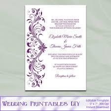 plum wedding invitation template diy printable purple