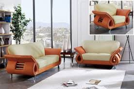 Living Room With Orange Sofa Global Furniture U559 Bei Orange Modern Beige Orange Leather Sofa