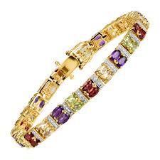 multi bracelet images 7 3 4 ct multi gem diamond bracelet sterling silver plated jpg