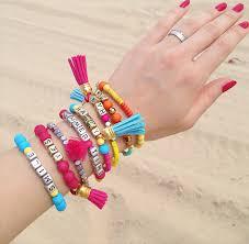 Personalized Name Bracelet Tassel Bracelet Set Beaded Bracelet Set Multi Strand Coachella