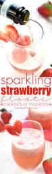 sparkling strawberry floats cocktail or mocktail