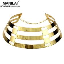 bib necklace metal images Manilai trendy arc hollow metal big torque neck bib choker jpg