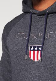 gant jeans gant hoodie anthrazit melange men clothing jumpers