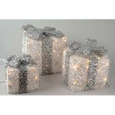 large glitter white and silver light up christmas parcels set with