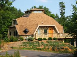 unusual dome homes design with stacked stone wall and brown color